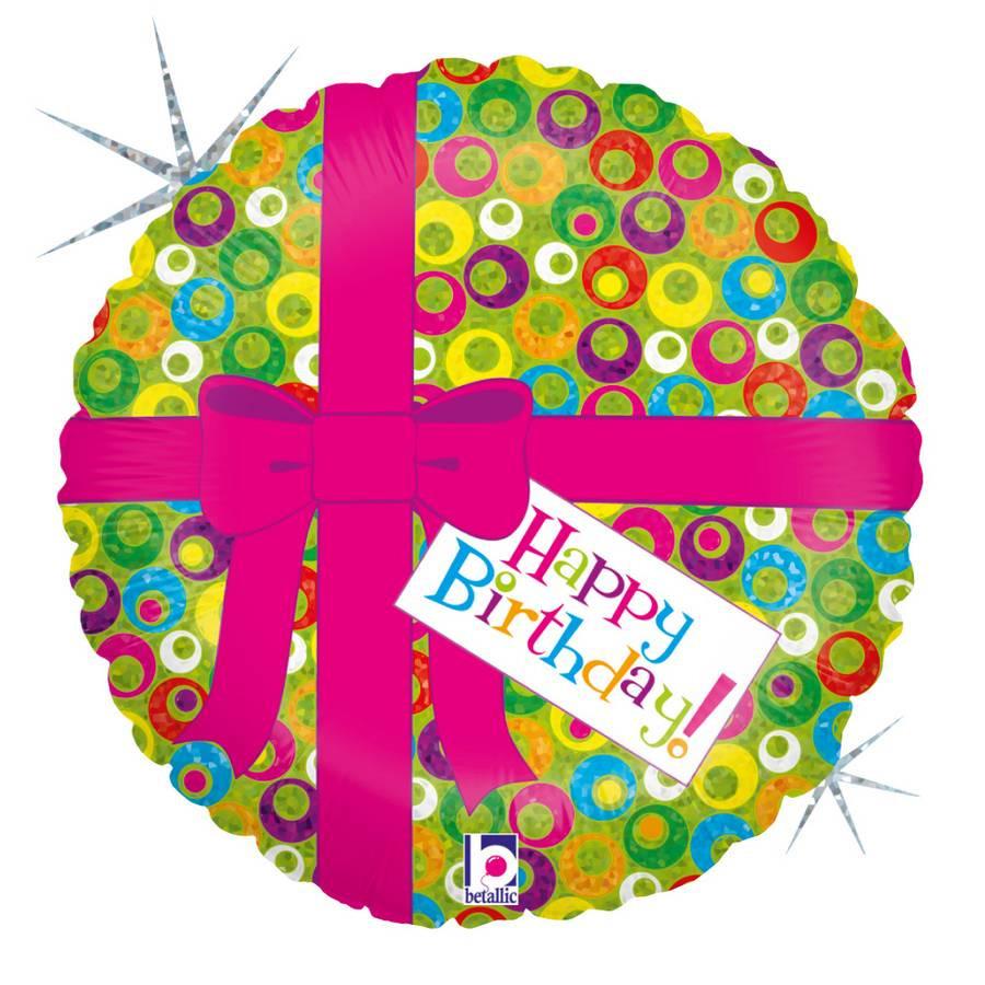 Folie ballon Gefeliciteerd/Happy Birthday roze strik 46 cm met helium gevuld