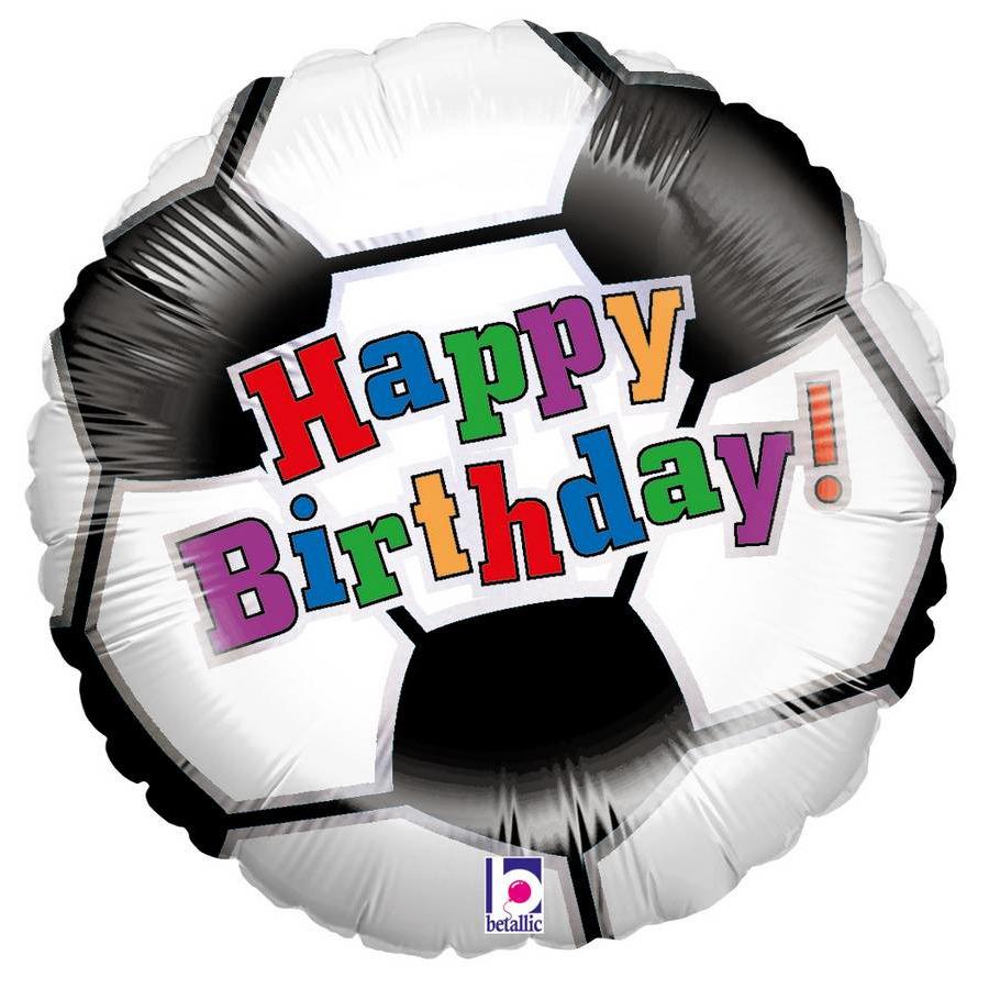 Folie ballon Gefeliciteerd/Happy Birthday voetbal 46 cm met helium gevuld