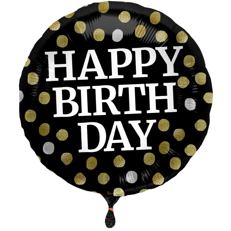Folie ballon Gefeliciteerd/ Happy Birthday zwart met stippen 45 cm met helium gevuld