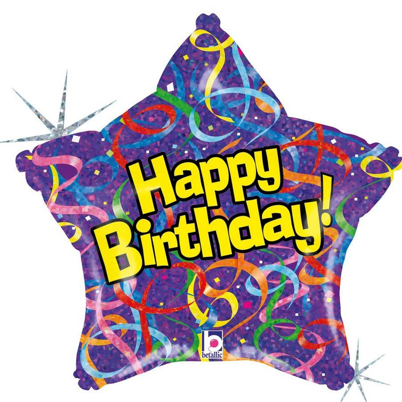 Folie ballon Happy Birthday verjaardag 46 cm met helium gevuld
