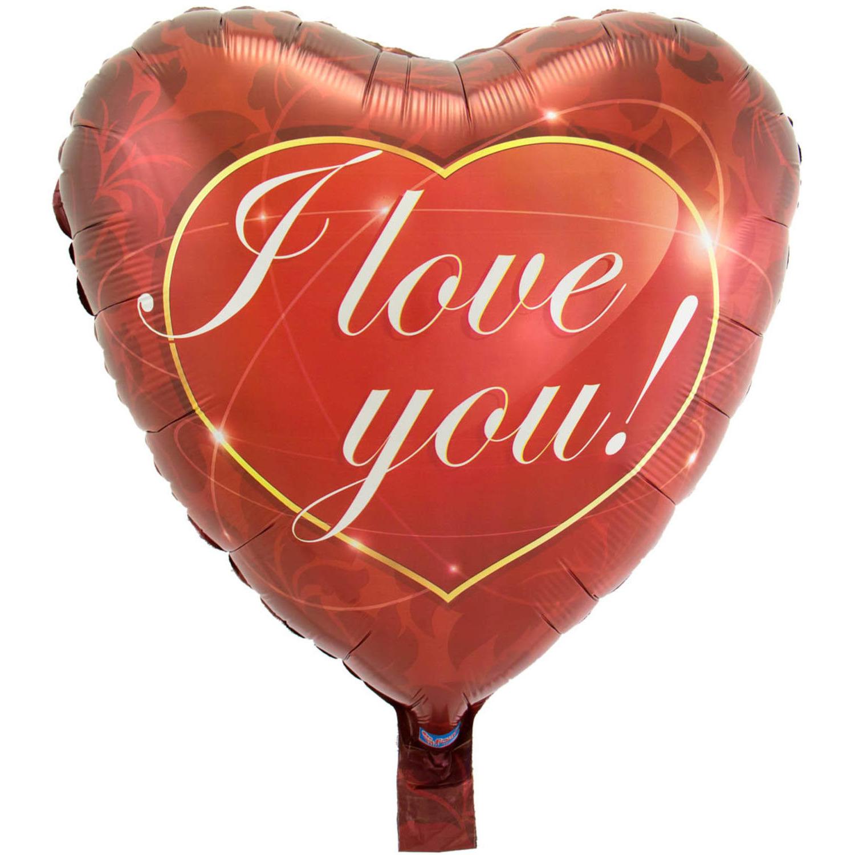 Folie ballon I Love You hart 43 cm met helium gevuld