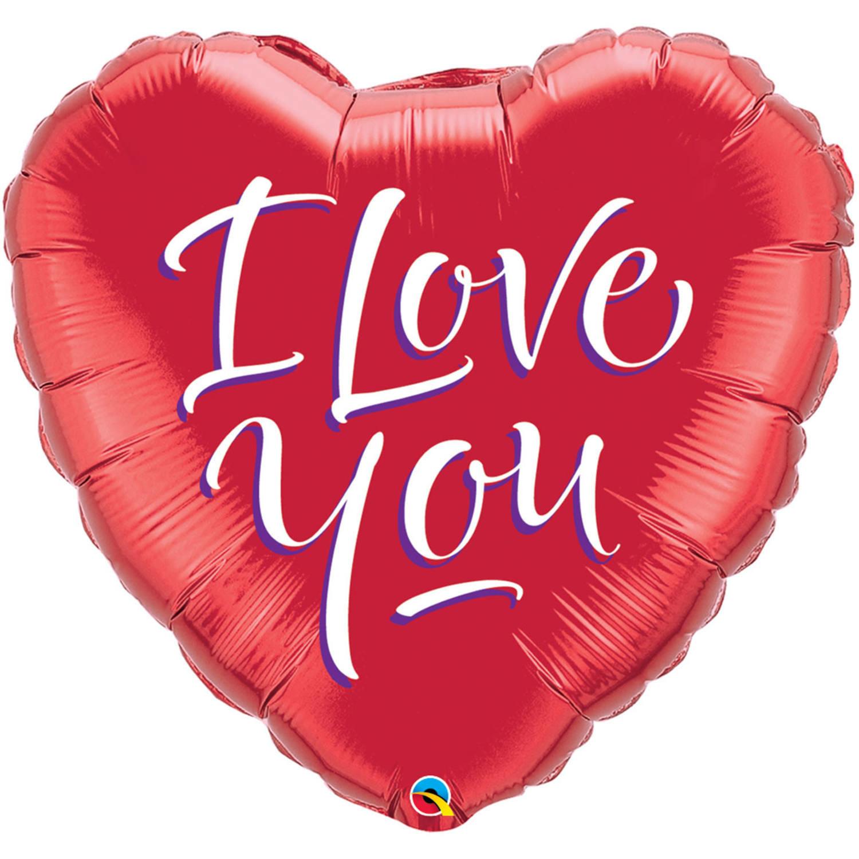 Folie ballon I Love You hart rood 46 cm met helium gevuld