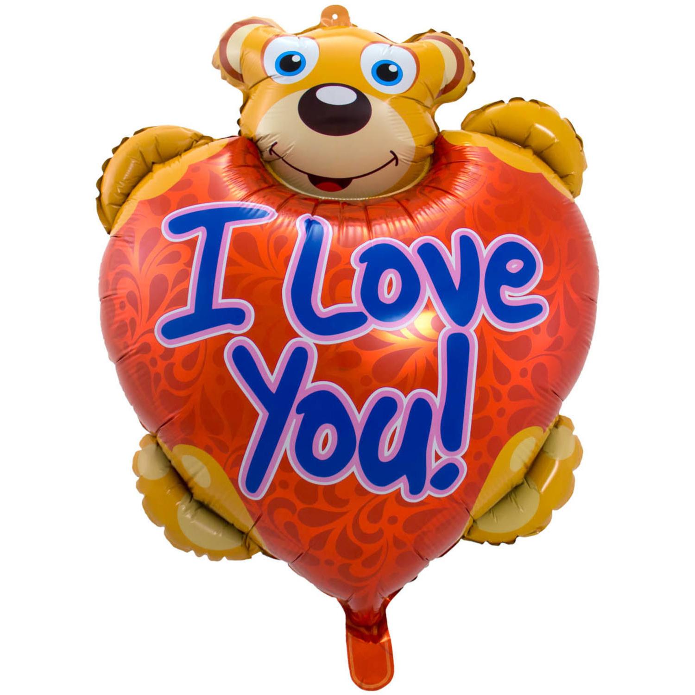 Folie ballon I Love You teddybeer 80 cm met helium gevuld