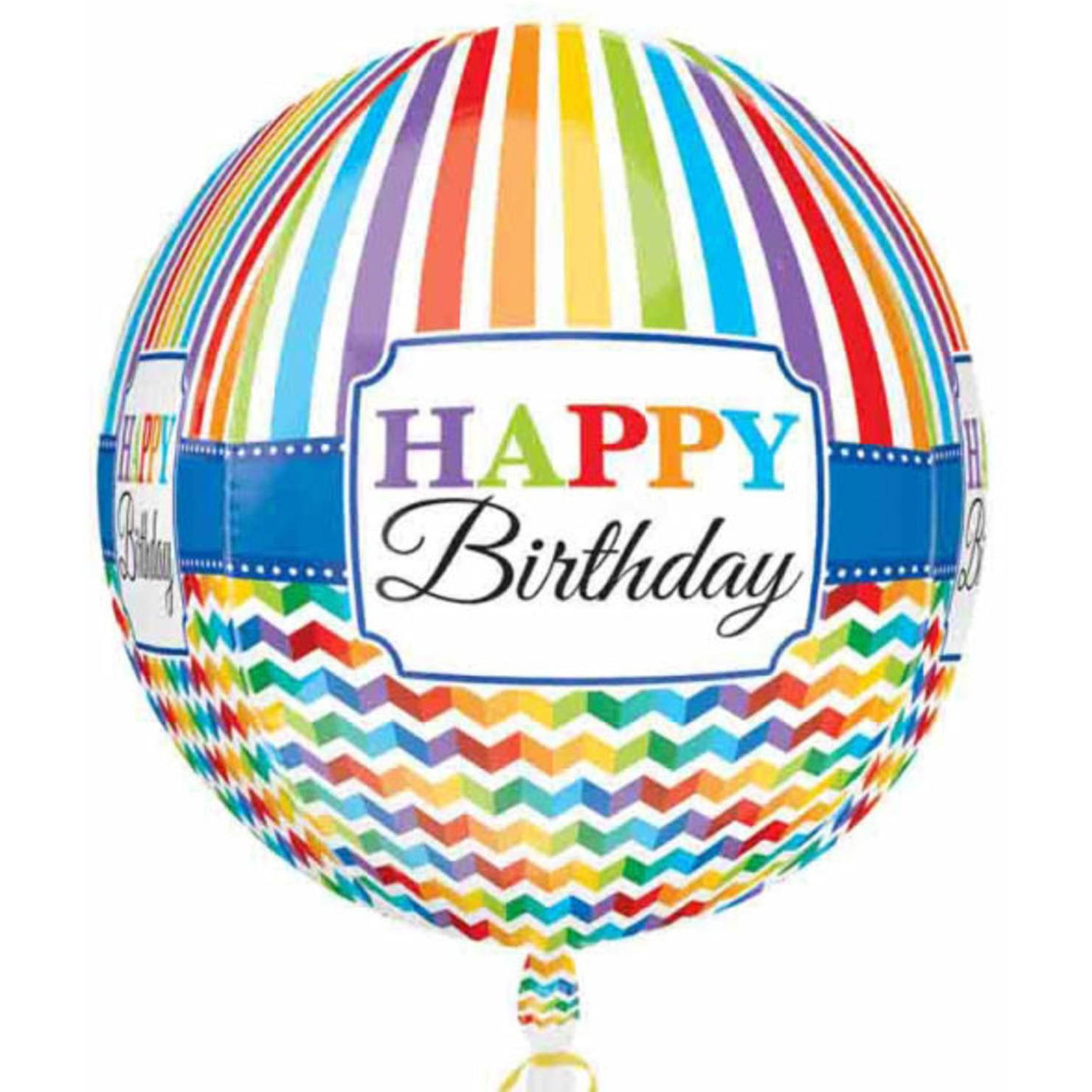 Folie ballon orbz/rond Gefeliciteerd/Happy Birthday 40 cm met helium gevuld