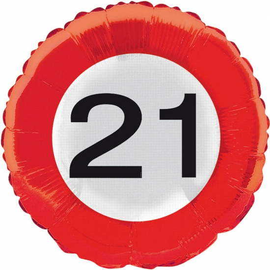 Folie ballonnen 21 jaar verkeersbord