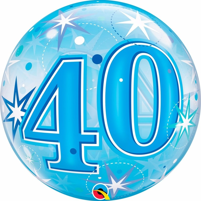 Folie helium ballon 40 jaar blauw 45 cm