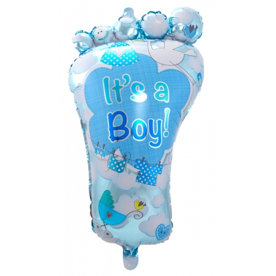 Folieballon voetje geboorte jongen 70 cm