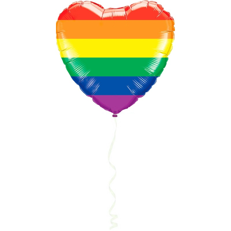 Gay Pride hart folie ballon regenboog kleuren 45 cm