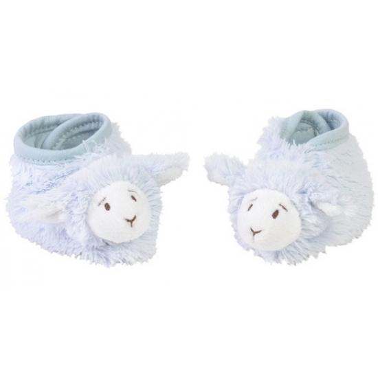 Geboorte kado blauwe lammetjes slofjes