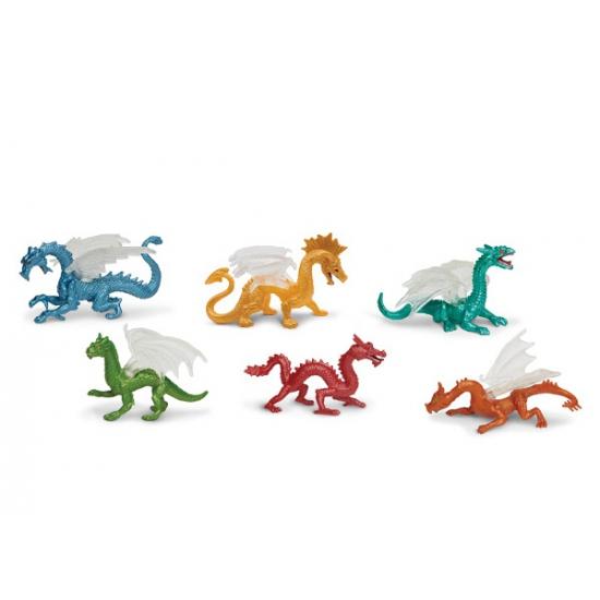 Gekleurde speelgoed draken 6 stuks