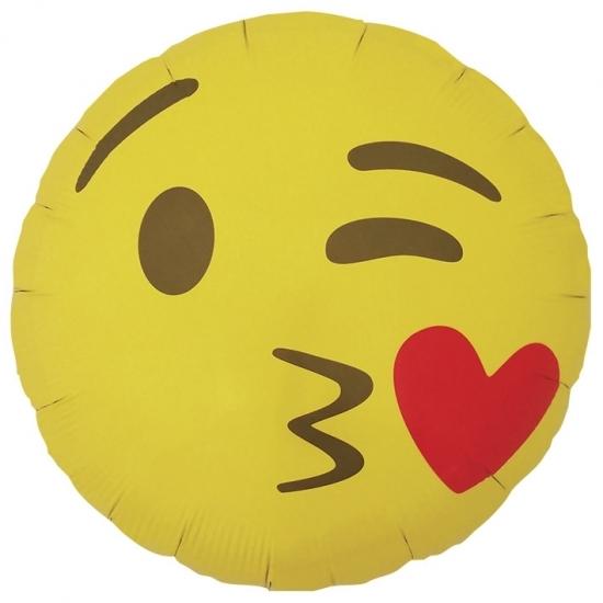 Gele emoticon folie ballon met kusje 35 cm