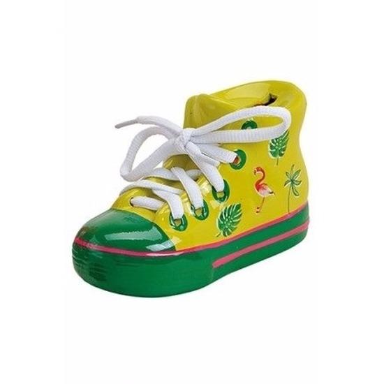 Gele schoen spaarpot 14 cm