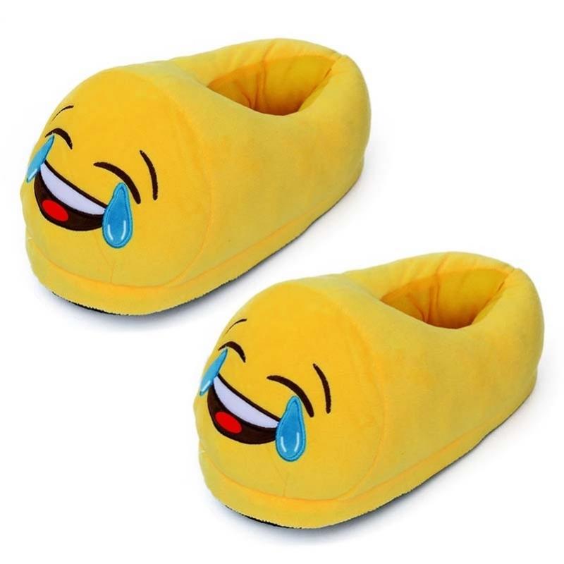 Gele smiley slofjes met LOL voor dames