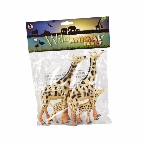 Giraffe familie gemaakt van rubber 4st