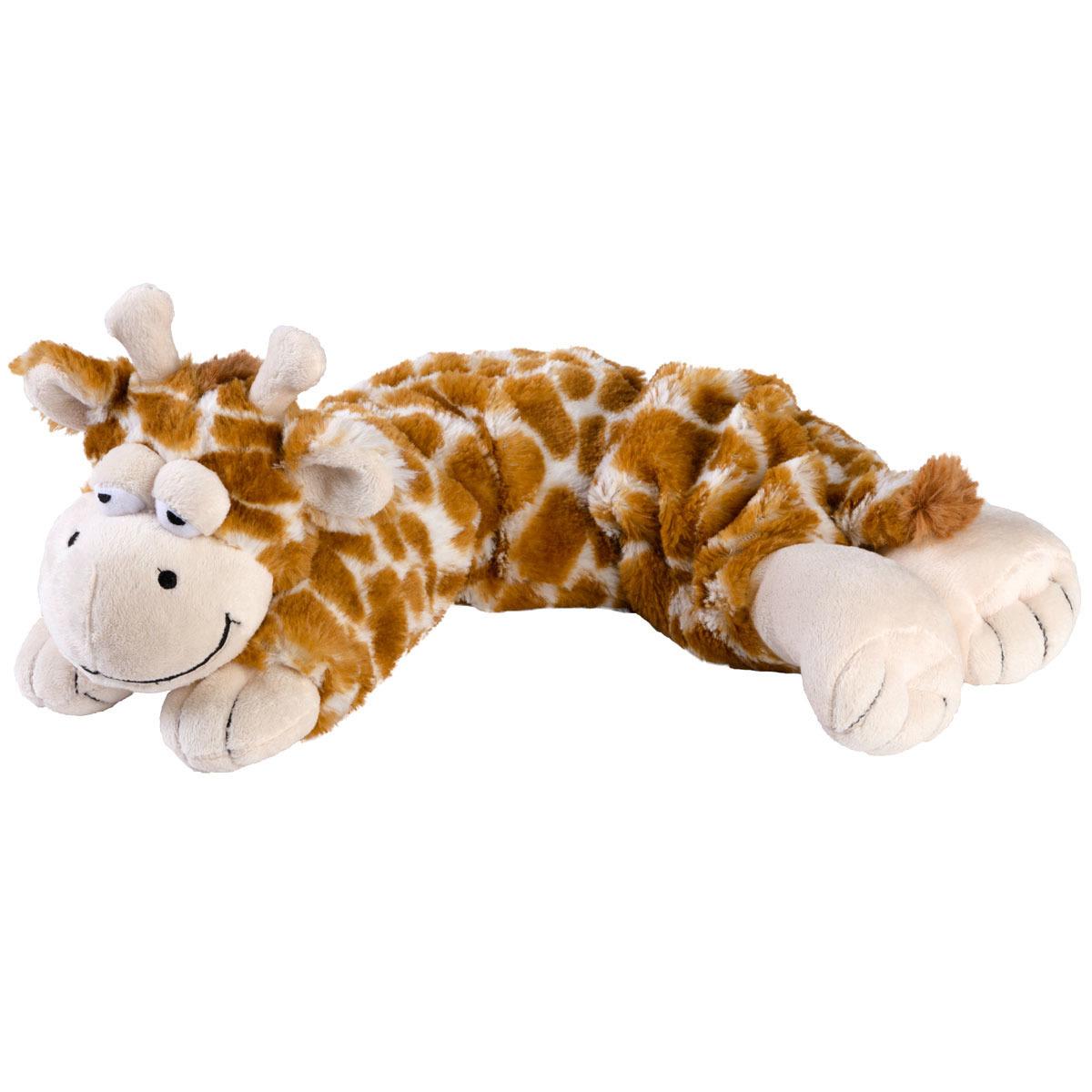 Giraffen speelgoed artikelen opwarmbare giraf knuffelbeest geel 50 cm