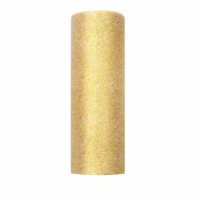 Glitter tule stof goud 15 cm breed