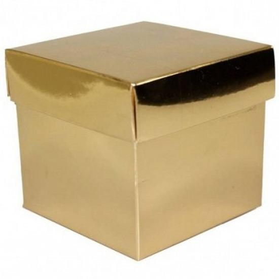 Goud cadeaudoosje 10 cm vierkant