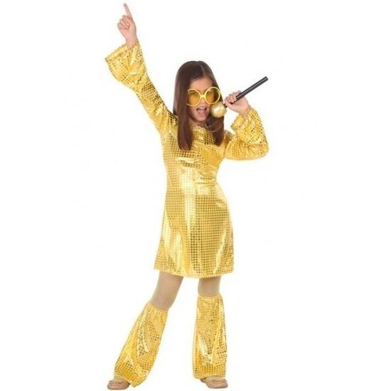 Gouden glitter disco jurk voor meisjes