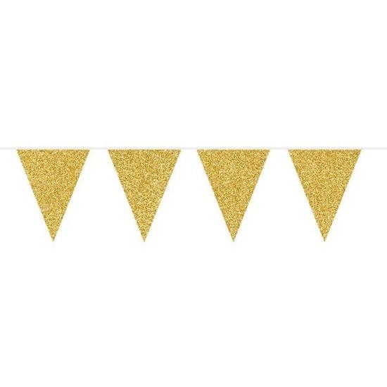 Gouden glitter vlaggenlijn 6 meter