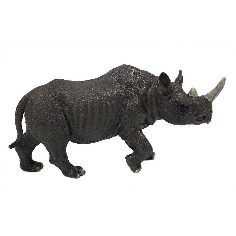 Grijze plastic neushoorn 12 cm