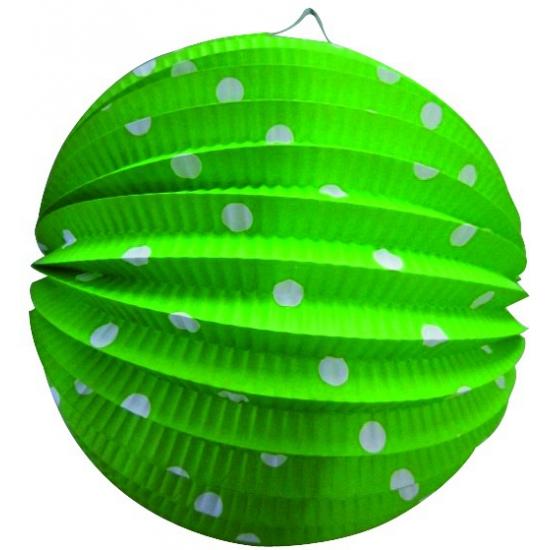Groen gekleurde feest lampion met witte stippen