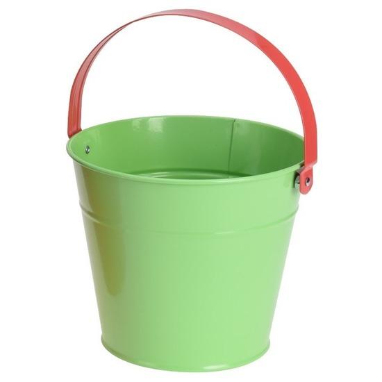 Groene stalen speelgoed emmer 16 cm voor kinderen