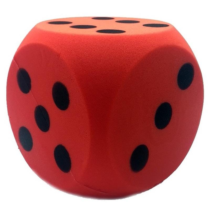 Grote foam dobbelsteen rood 16 x 16 cm