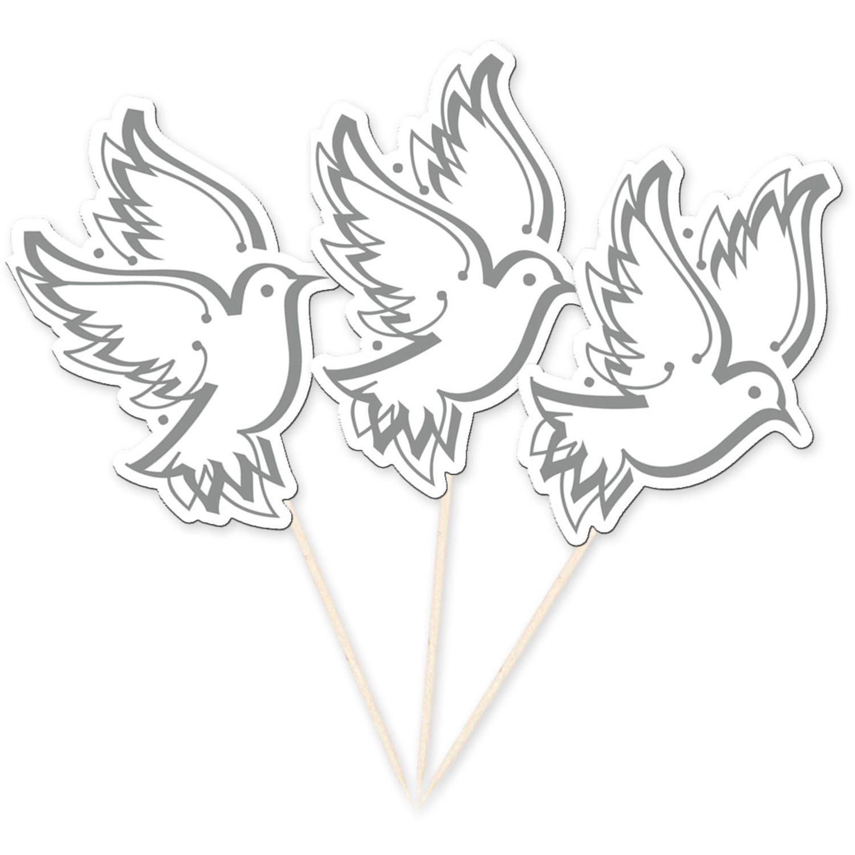 Grote prikkers witte bruiloft/communie duiven 10x stuks
