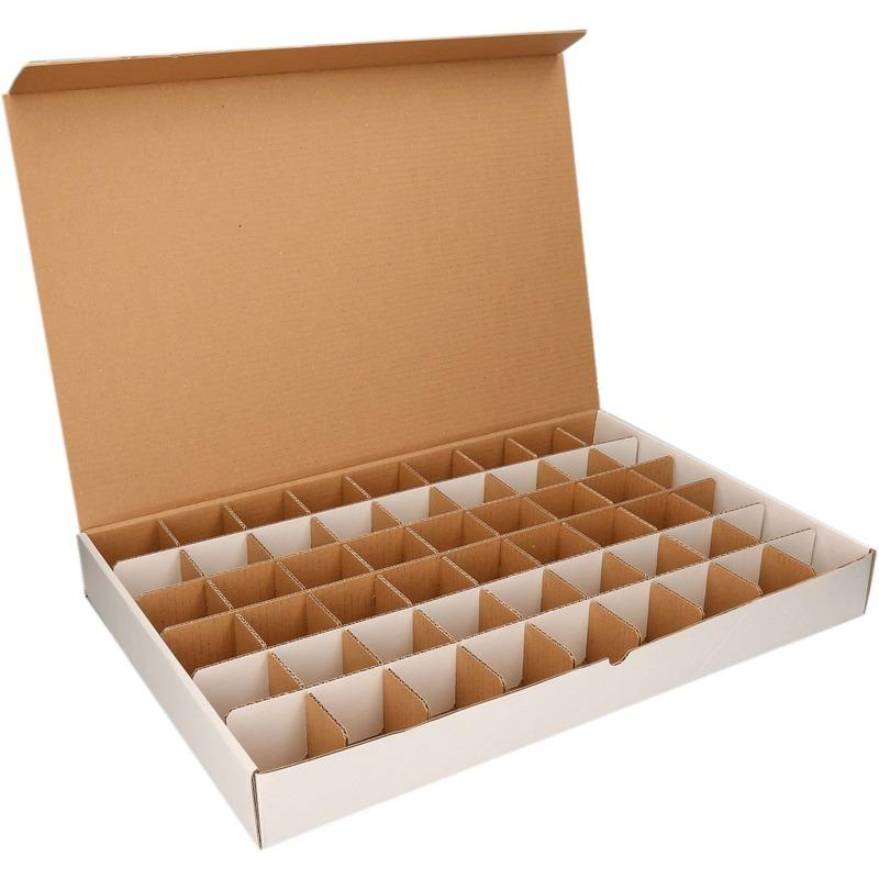Haar elastiekjes opbergen doos met sorteervakjes van 6 cm