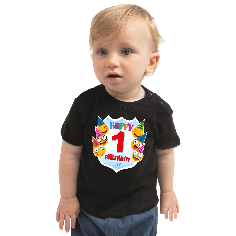 Happy birthday 1e verjaardag t-shirt - shirt 1 jaar met emoticons zwart voor baby