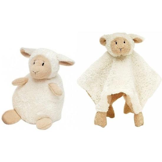 Happy Horse schaap/lammetje wit knuffeldoekje en knuffel zittend