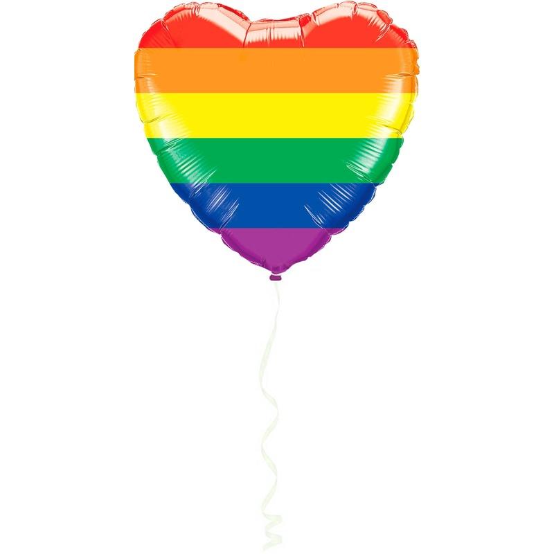 Hart folie ballon regenboog kleuren met helium 45 cm