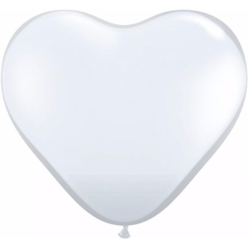 Hartjes ballonnen wit 15x stuks