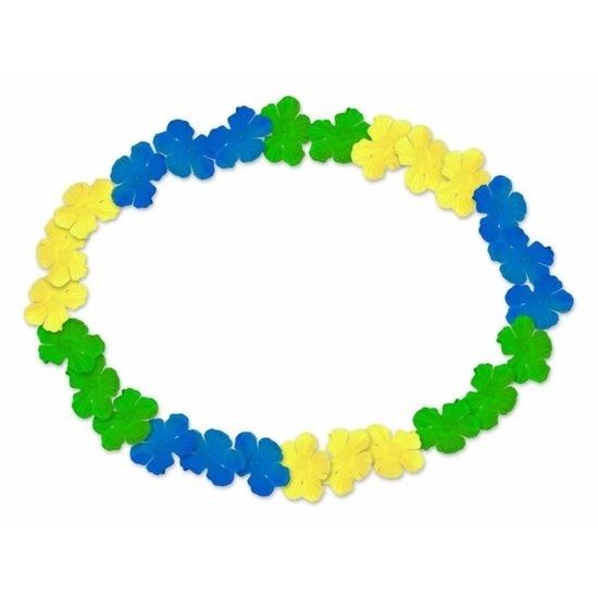 Hawaii krans blauw, geel en groen