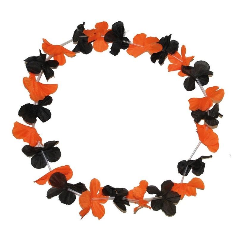 Hawaii kransen zwart met oranje