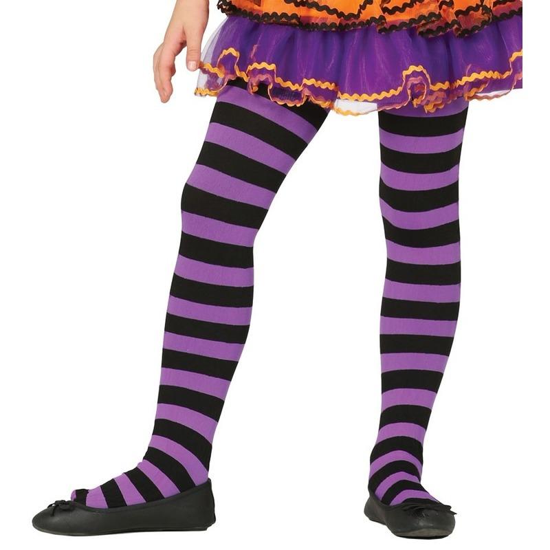 Heksen verkleedaccessoires panty maillot zwart/paars voor meisje