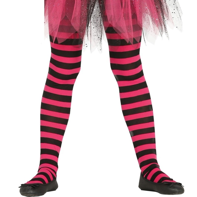 Heksen verkleedaccessoires panty maillot zwart/roze voor meisjes