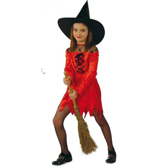Heksen verkleedjurk rood voor meiden