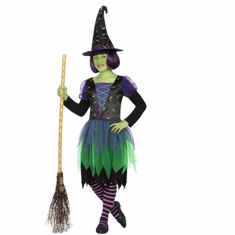Heksen verkleedjurk zwart/groen voor meisjes