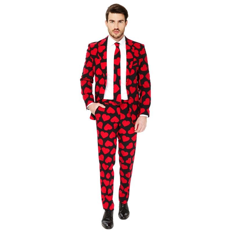 Heren verkleed pak/kostuum rode hartjes print