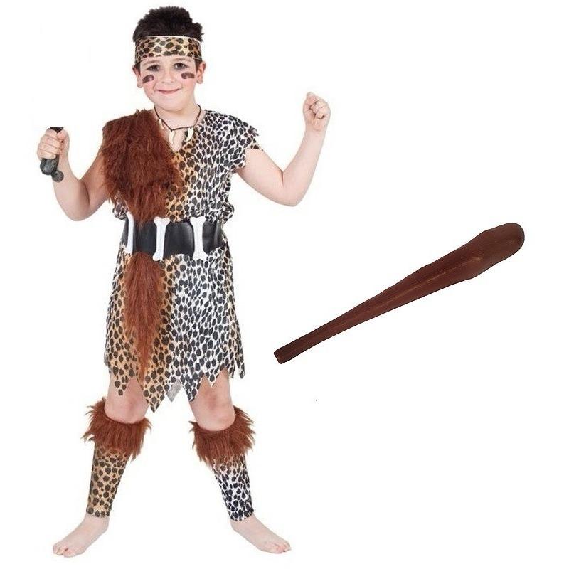 Holbewoner kostuum maat L met knots voor kinderen