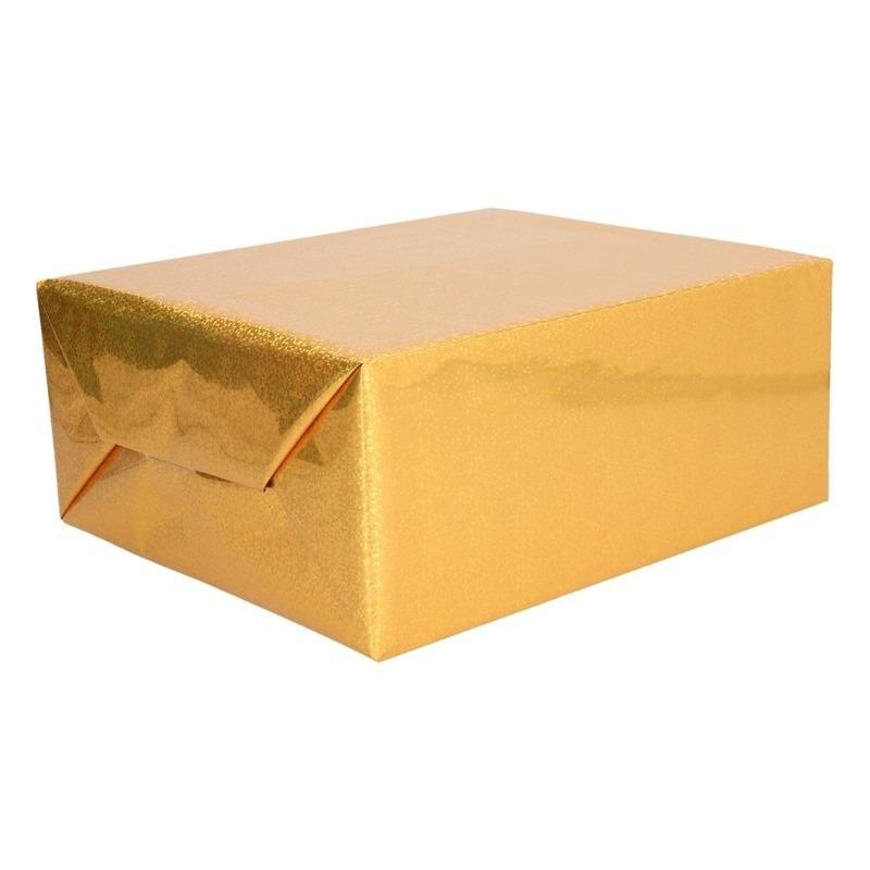 Holografisch inpakpapier/cadeaupapier goud metallic 70 x 150 cm