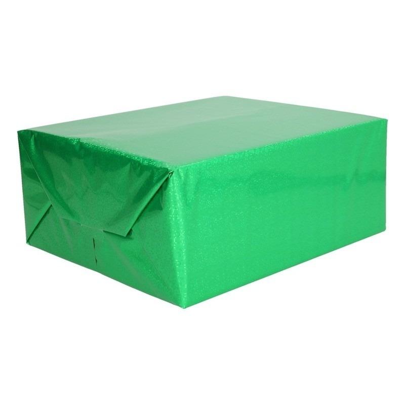 Holografisch inpakpapier/cadeaupapier groen metallic 70 x 150 cm