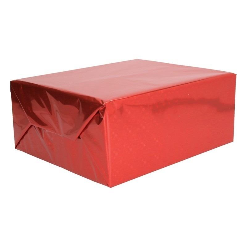 Holografisch inpakpapier/folie rood metallic 70 x 150 cm
