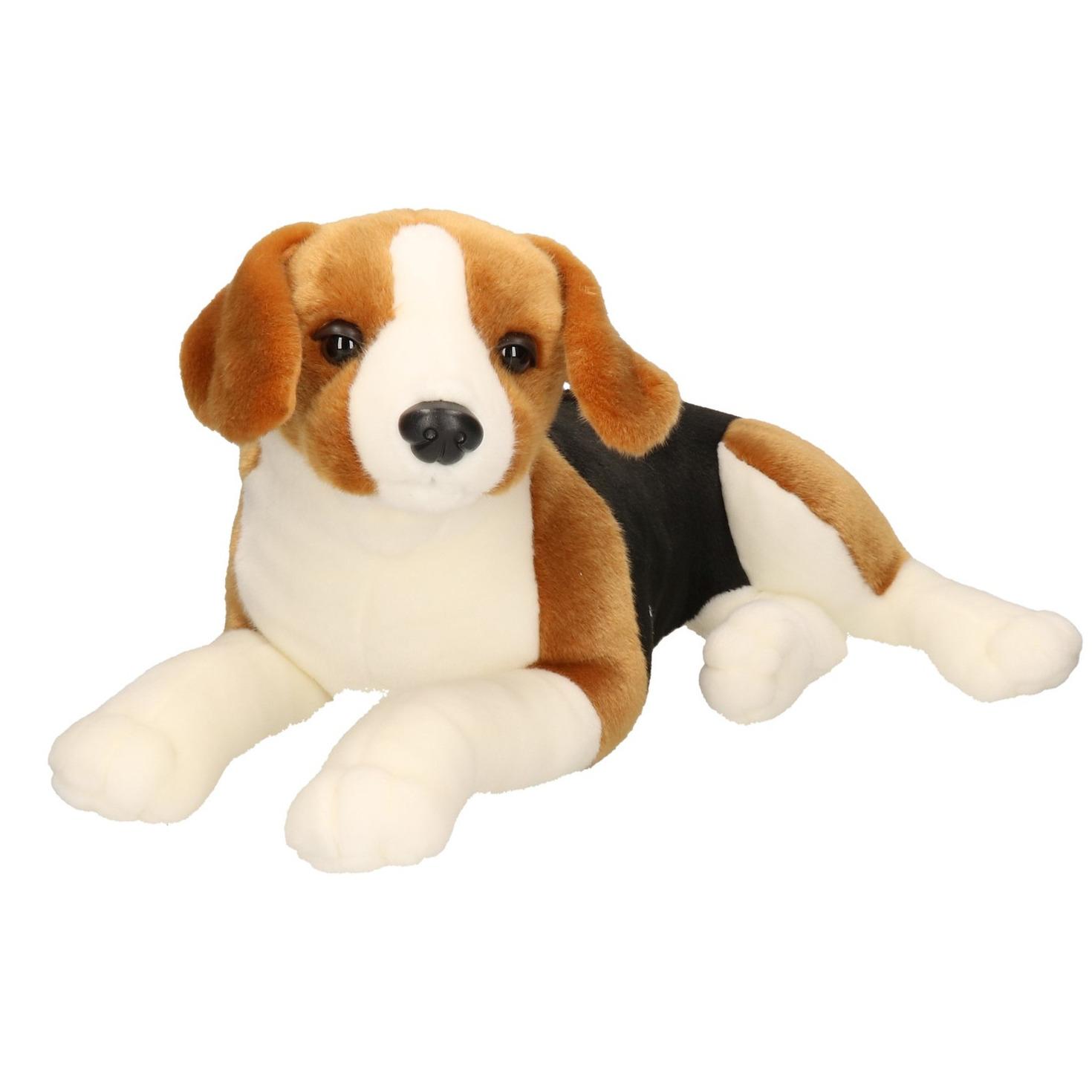 Honden speelgoed artikelen Beagle knuffelbeest bruin/zwart 53 cm
