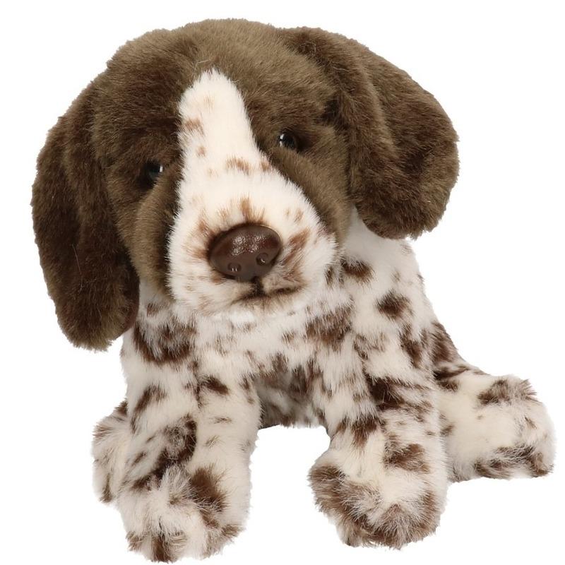 Honden speelgoed artikelen Engelse Pointer knuffelbeest bruin/wit 17 cm