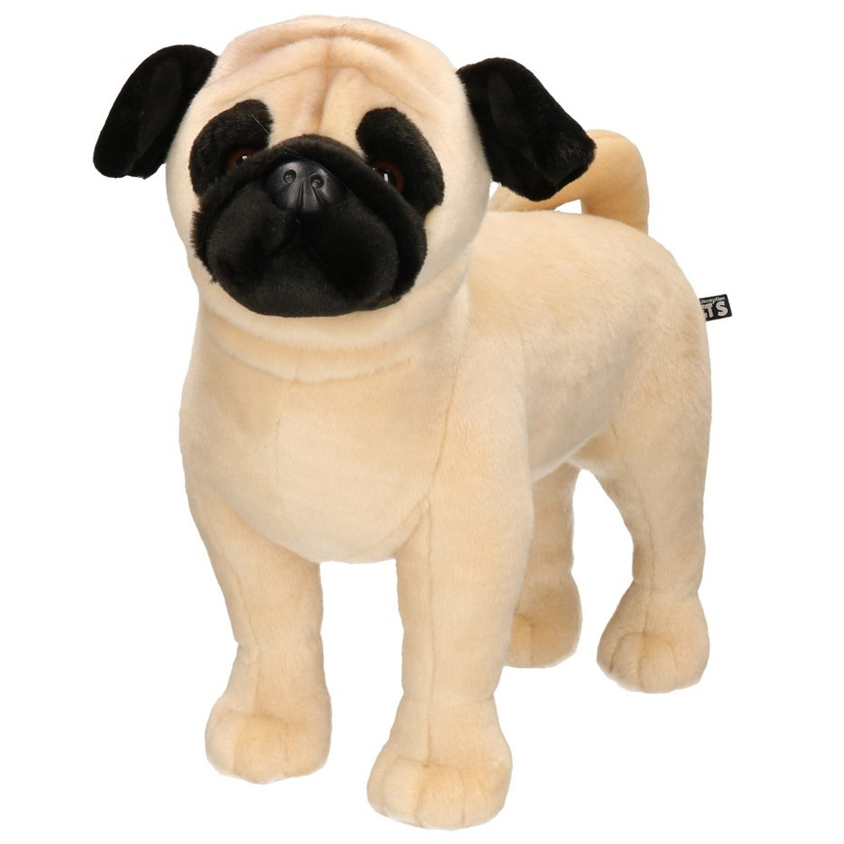 Honden speelgoed artikelen Mopshond knuffelbeest lichtbruin 45 cm