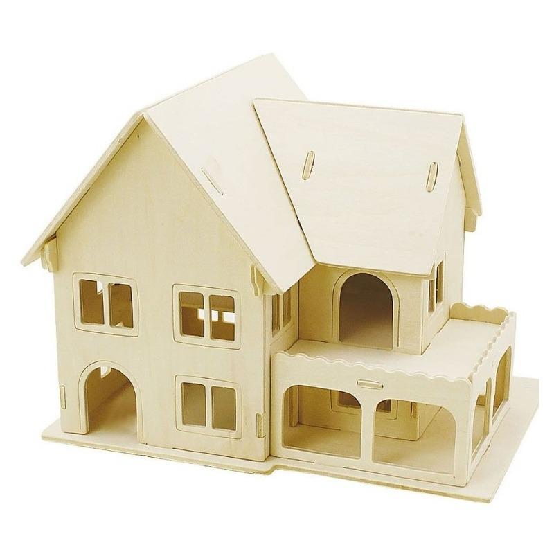 Houten 3D bouwpakket huis met veranda 22 x 16 x 17 cm