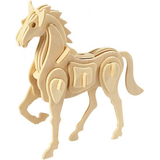 Houten bouwpakket paard 3D