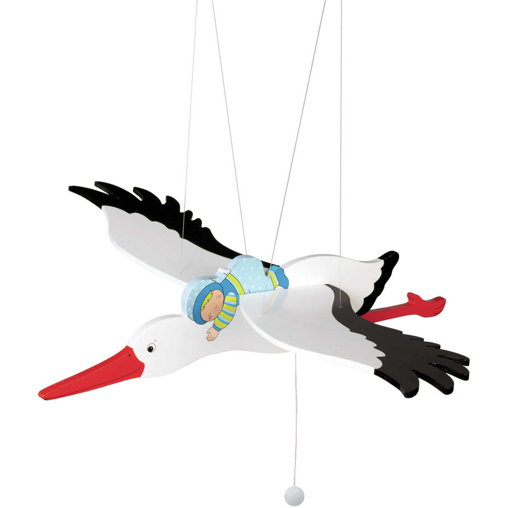 Houten hangende ooievaar met baby jongetje 54 cm